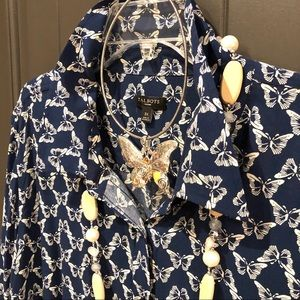 TALBOTS (3X) Navy BUTTERFLY BUTTON FRONT/ Long Slv